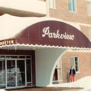 Archival photo of previous awnings