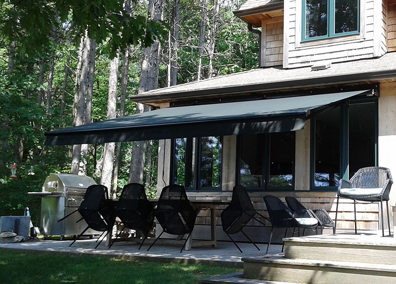 Awnings installed on top of a seating area