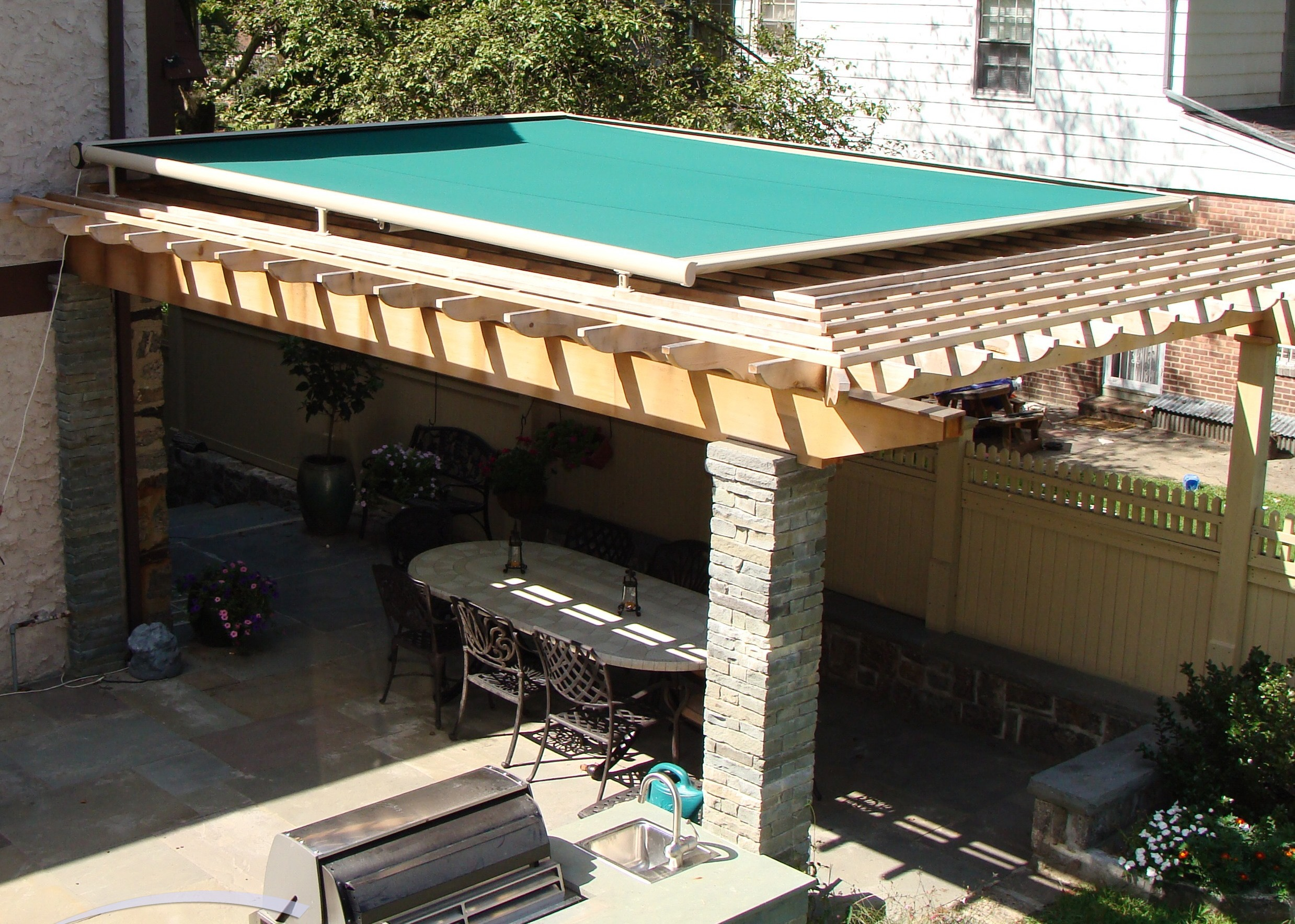 Green Motorized Retractable Canopy